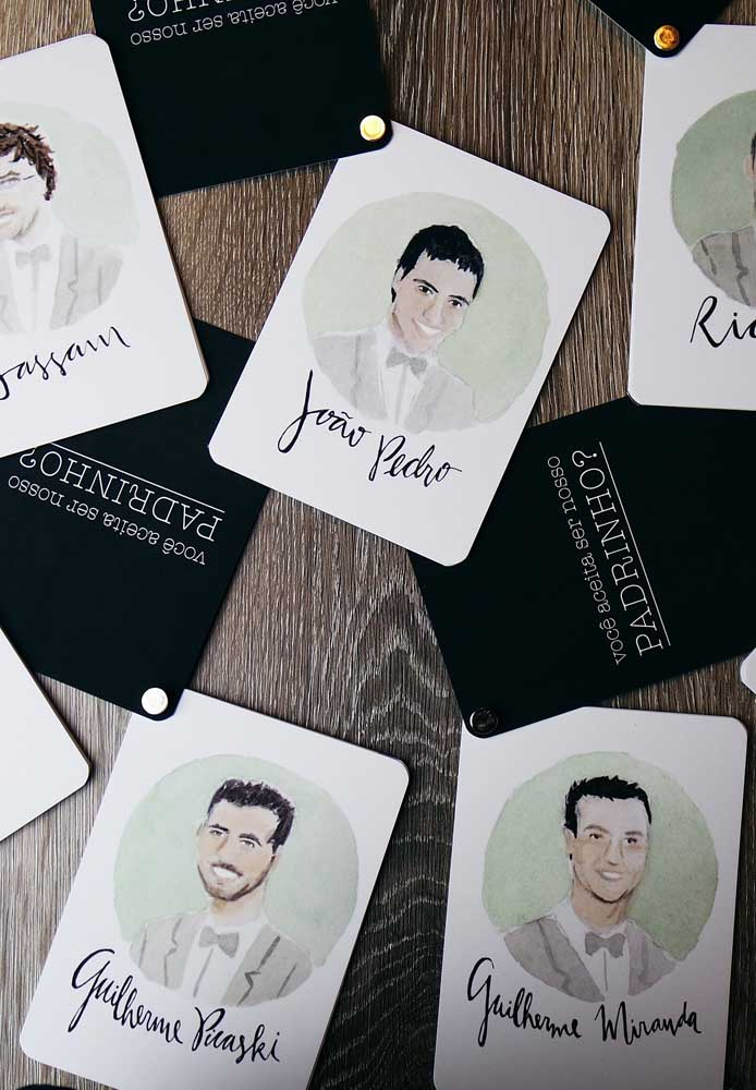 Caricatures for a fun godfather invitation