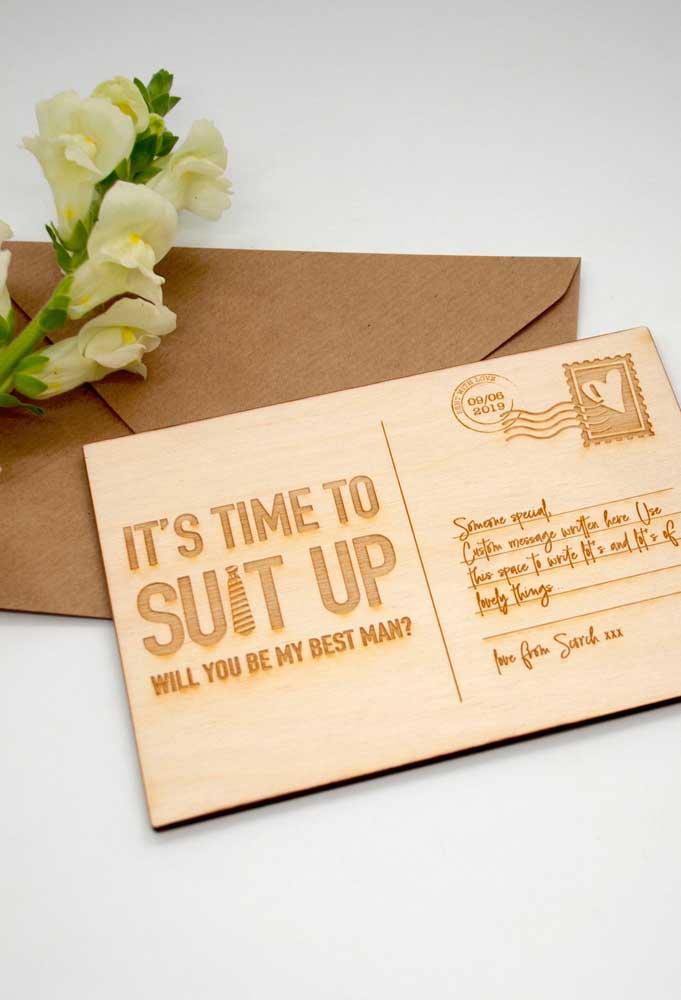 Invitation to best man in postcard style. Perfect for those who live far away