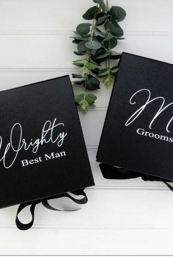 Black: a great color for groomsmen invitations, as long as it also has to do with the ceremony