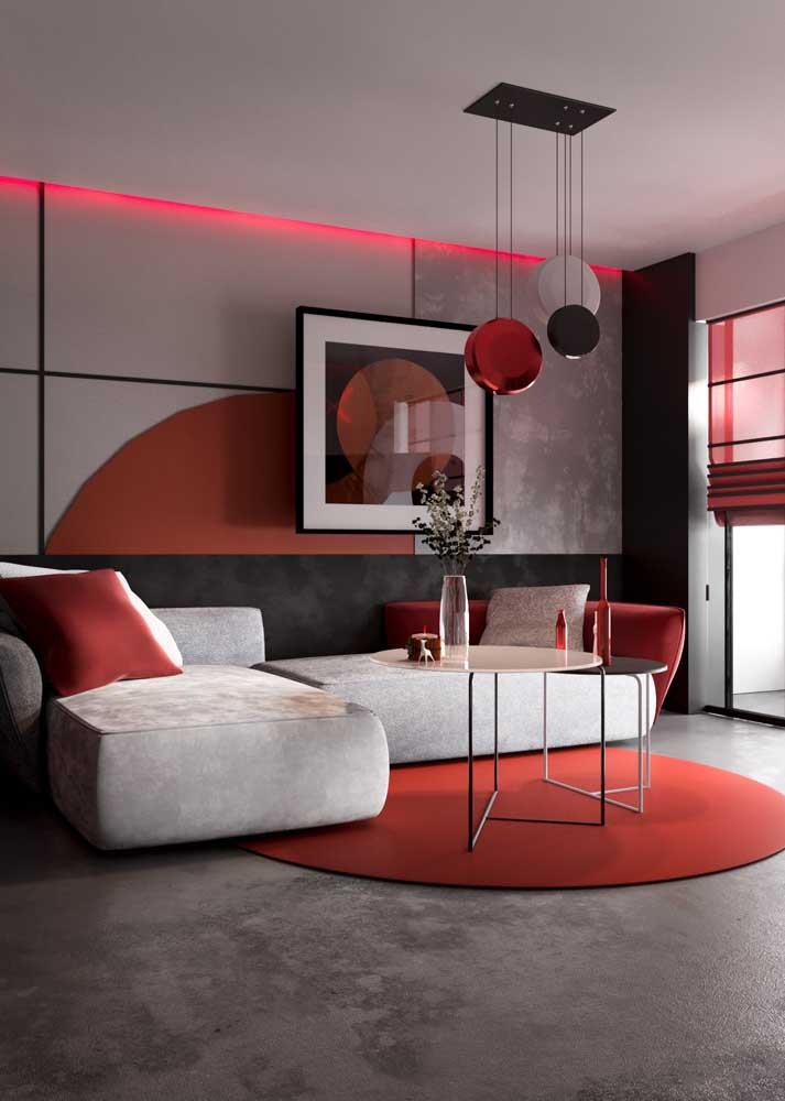 Red room decoration in a contemporary style. Here, the shade of gray neutralizes the red