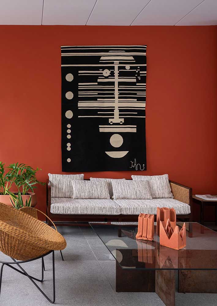 Living room with red wall. You don't need anything else!