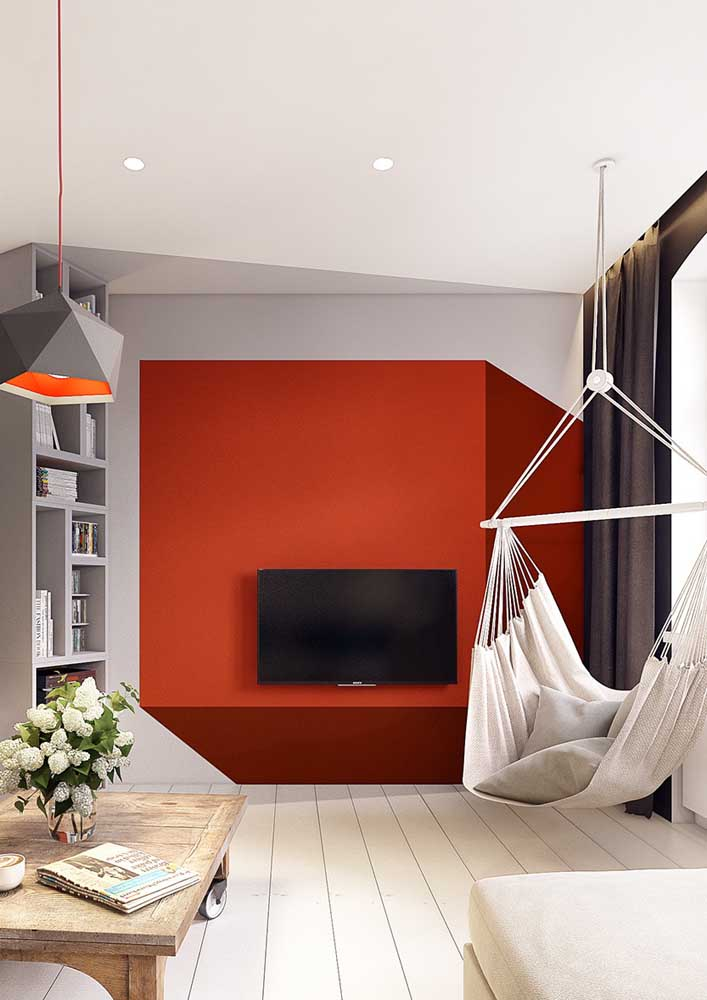 Red and gray room: modern and elegant