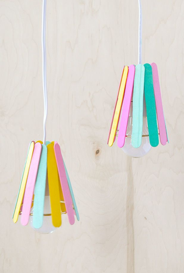 Ice cream sticks lamp