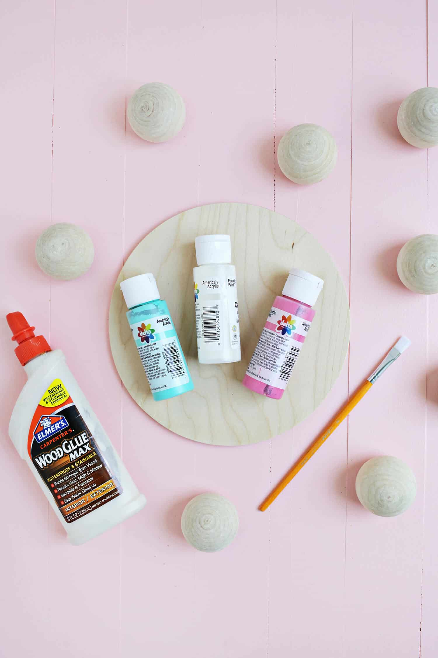 Now separate paint in the colors you prefer, Styrofoam balls, brush and white glue