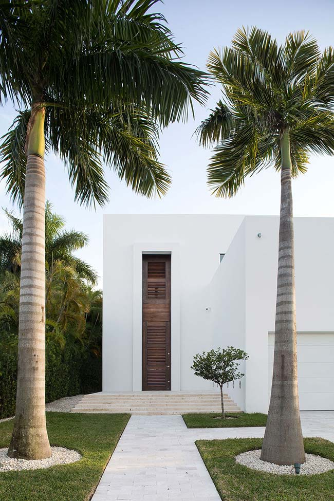 Royal palm trees guarding the entrance to the house