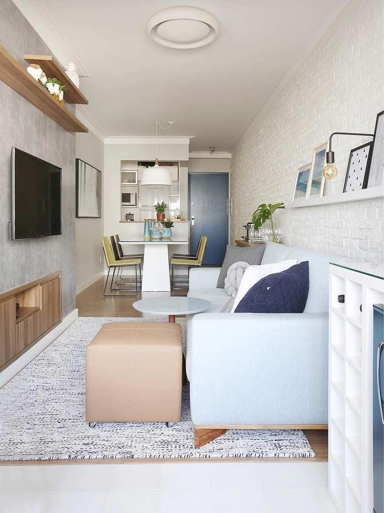 Charming decor with light blue sofa