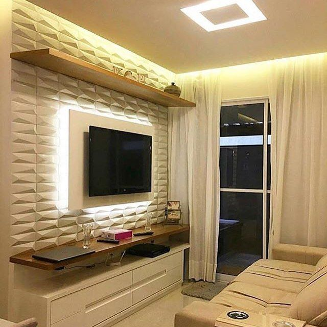 Room with 3d plaster panel