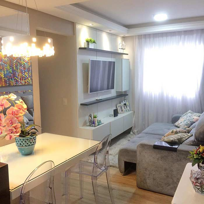 TV room with extendable sofa