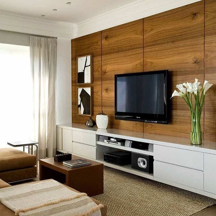 Room with wooden panel