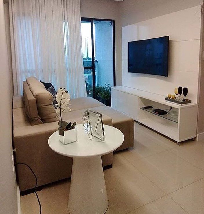 Small room decorated with comfortable sofa
