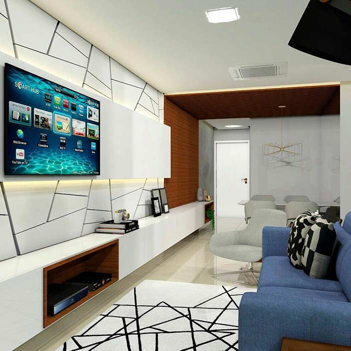 Small room decoration with geometric panel and carpet that follows the same style