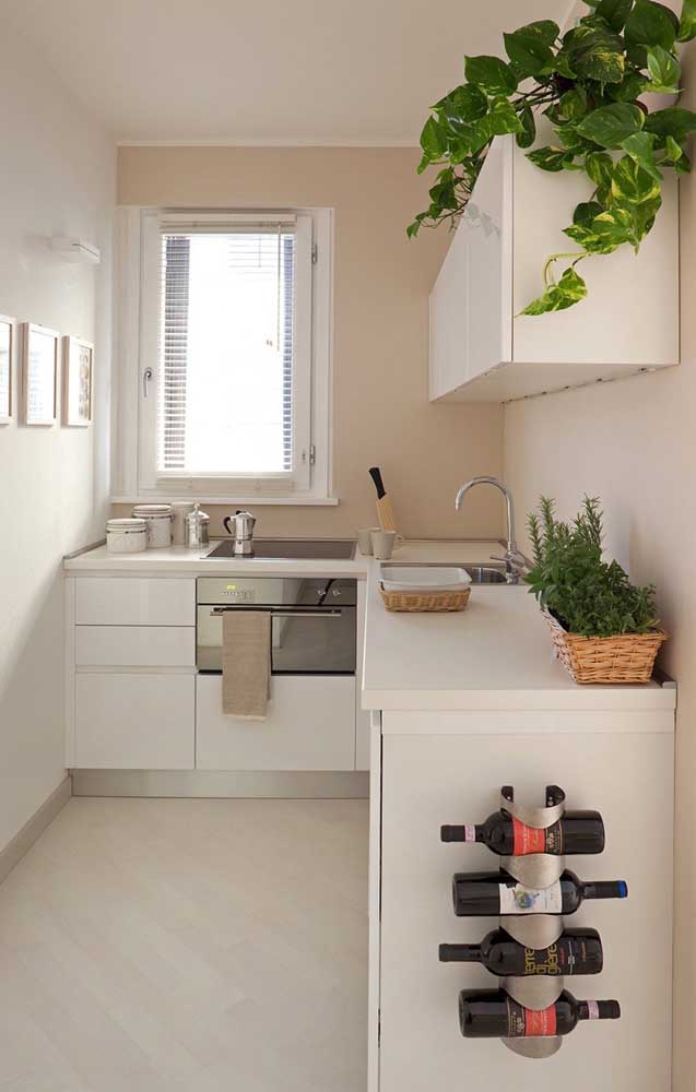 This small, corridor-style kitchen features ivory-colored walls as an alternative to using white