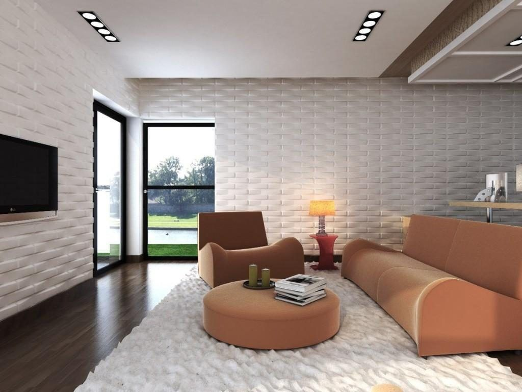 Room with 3D plaster wall