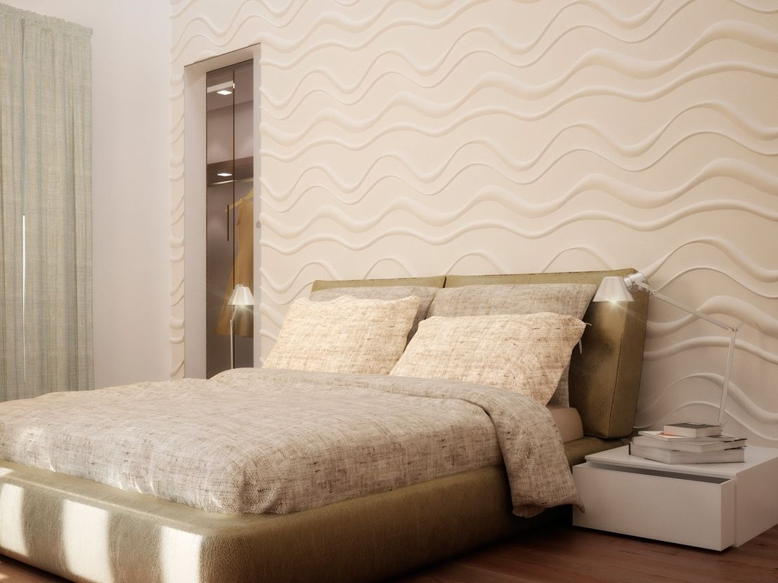 3D plaster wall with wavy designs