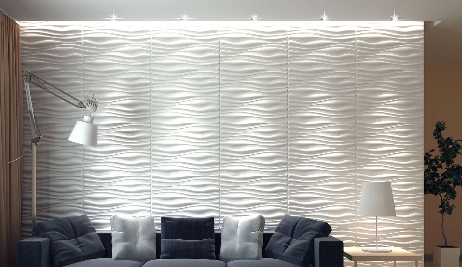 Neutral decor with 3D plaster wall