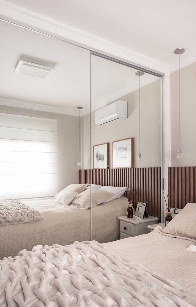 Mirror and natural light to enlarge the small double bedroom