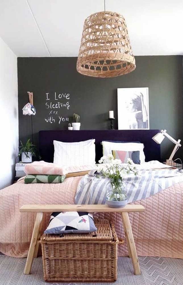 Very modern small double room with a super cool blackboard wall