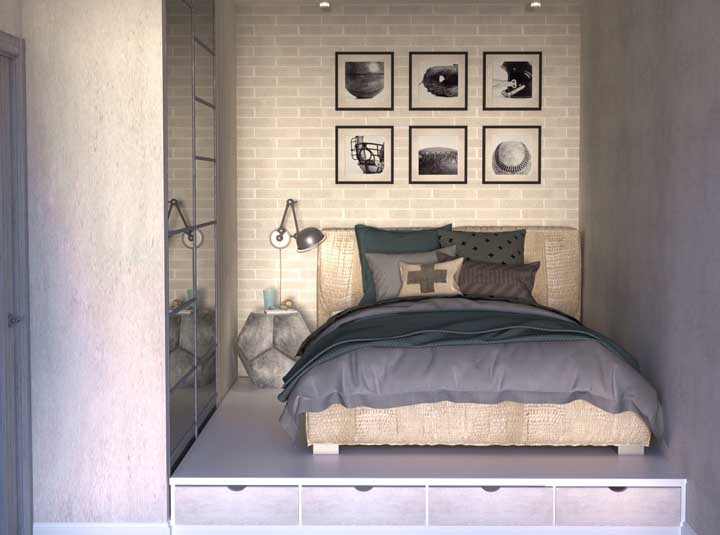 Small, modern double room with a sober and neutral color palette