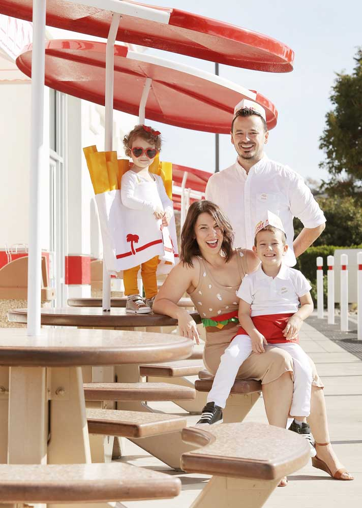 How about literally dressing the whole family for the burger night?
