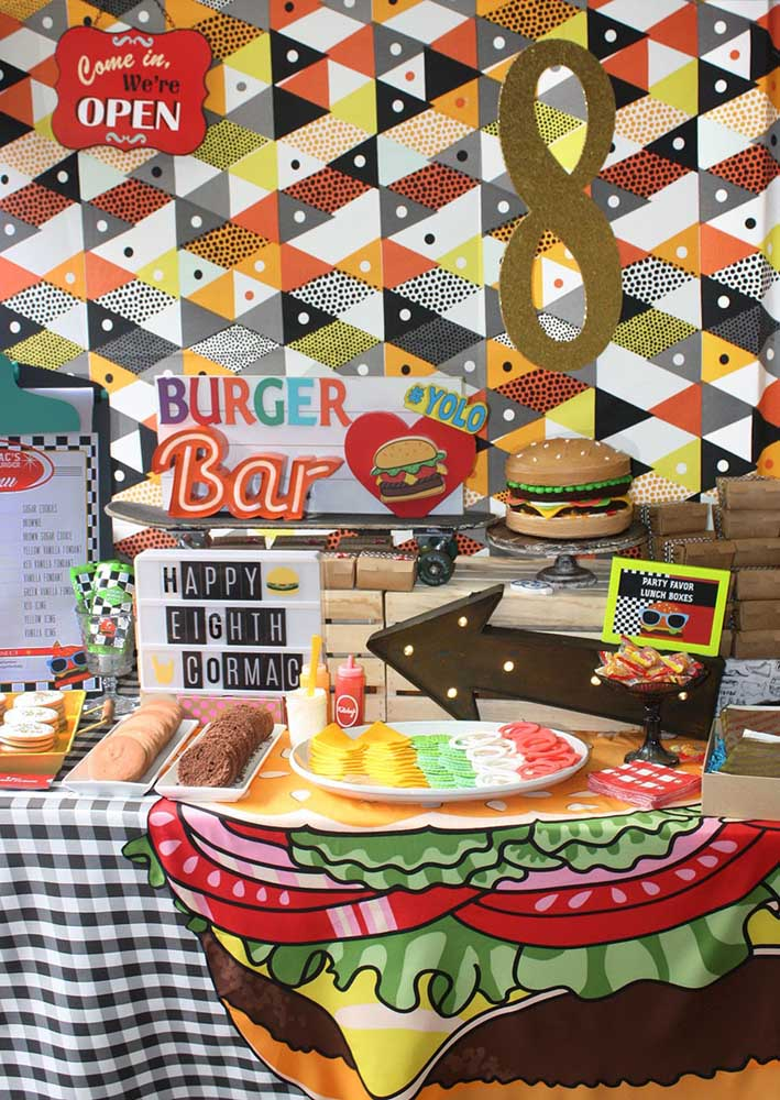 Here, the hamburger night became a birthday party theme with a super decorated table