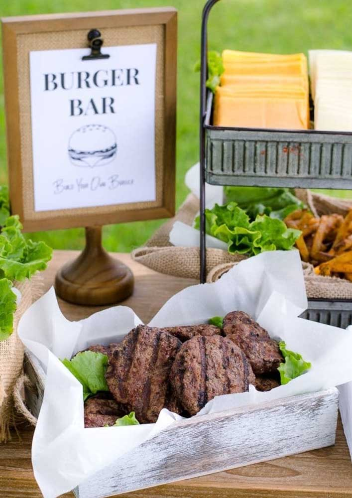 Burger night outdoors. The rustic basket was a charm just to serve the hamburgers already grilled