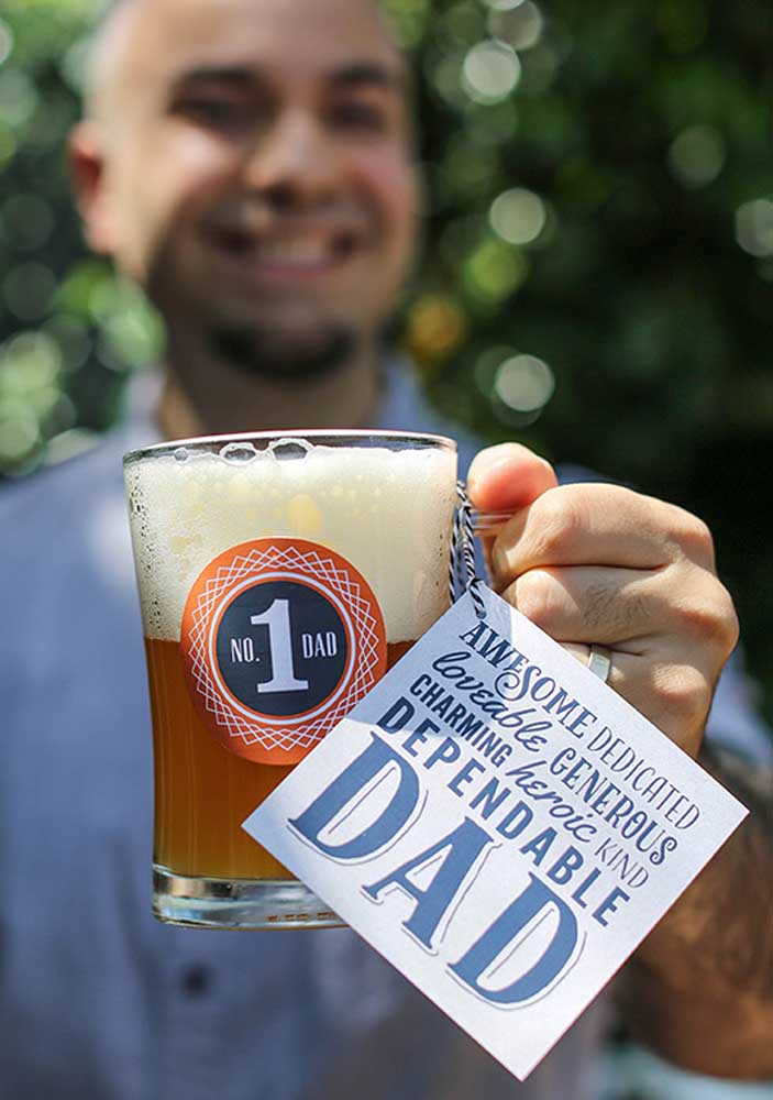 Personalized draft beer mug for dad!