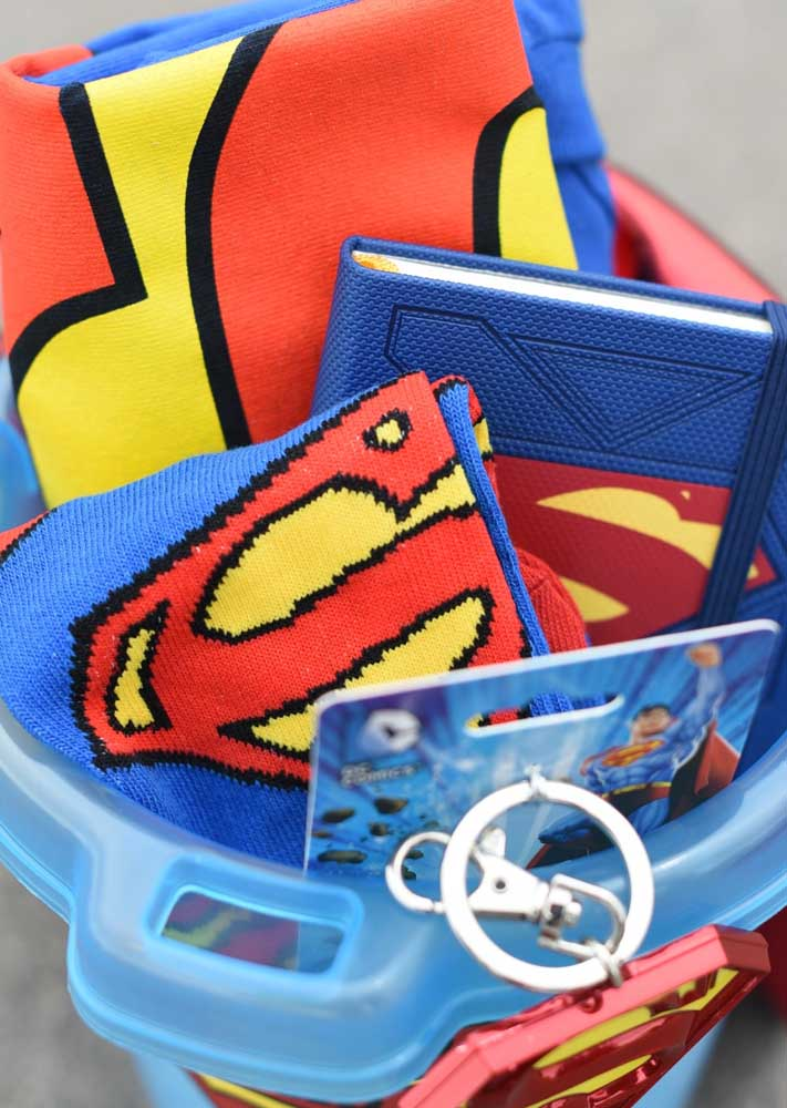 The super hero kit has a little bit of everything: socks, notebook, T-shirt and even a keychain