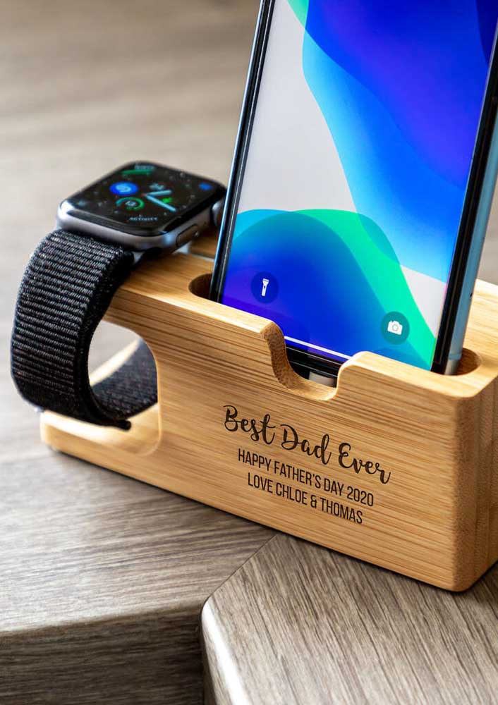 Modern gift for Father's Day: phone holder and watch