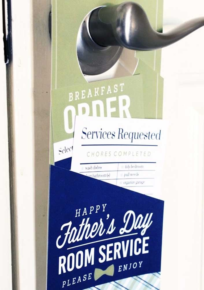 The Father's Day gift is in every detail, including the card on the door that announces breakfast