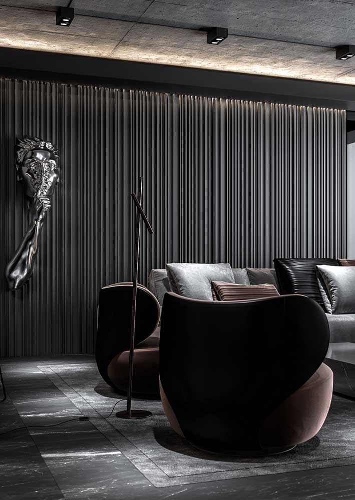 Sophisticated black room valued for the use of textures