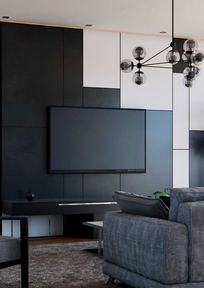 Room with black wall and white and gray details