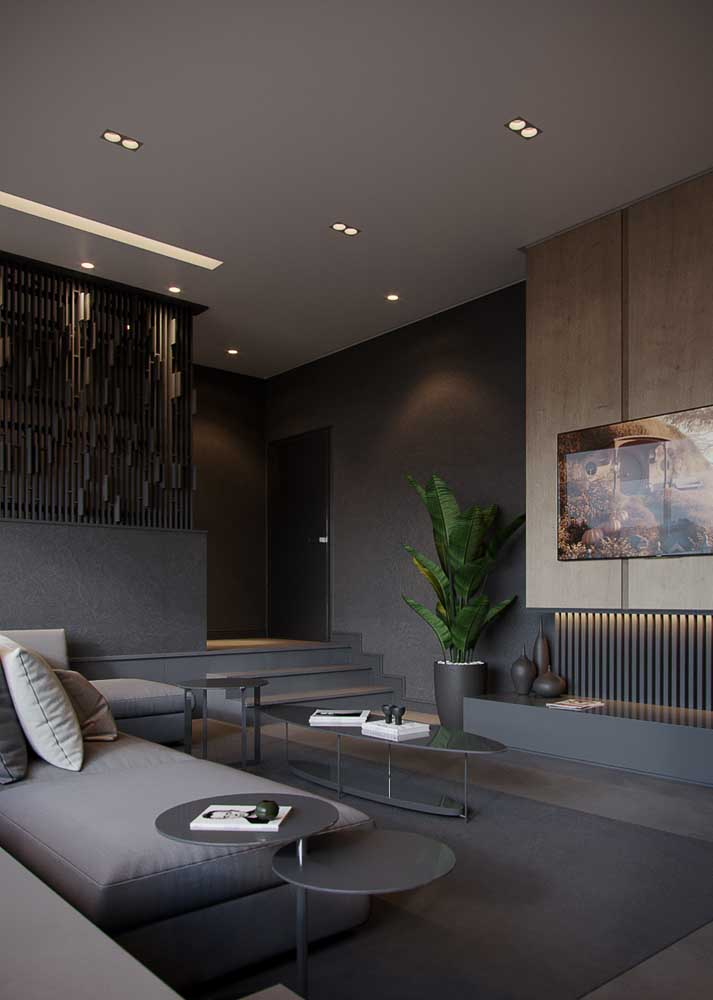 Modern living room in black and gray tones