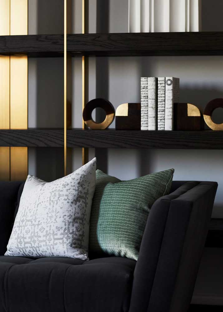 Black room with gold accents
