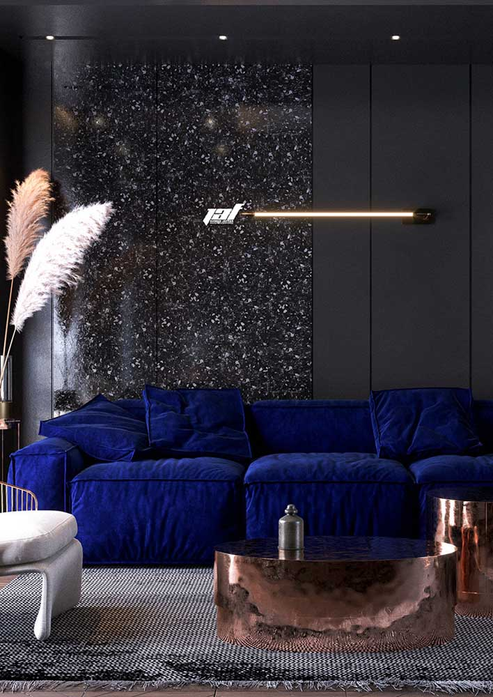 Modern, this room looks amazing with the blue sofa in contrast to the black wall