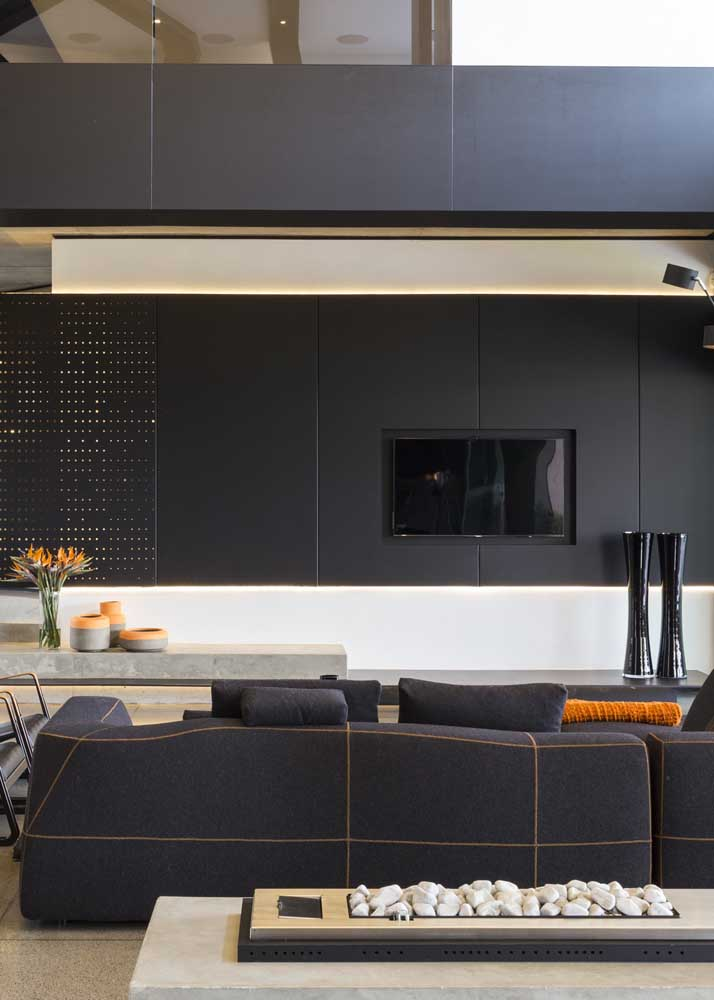 Modern black room with perfect color balance