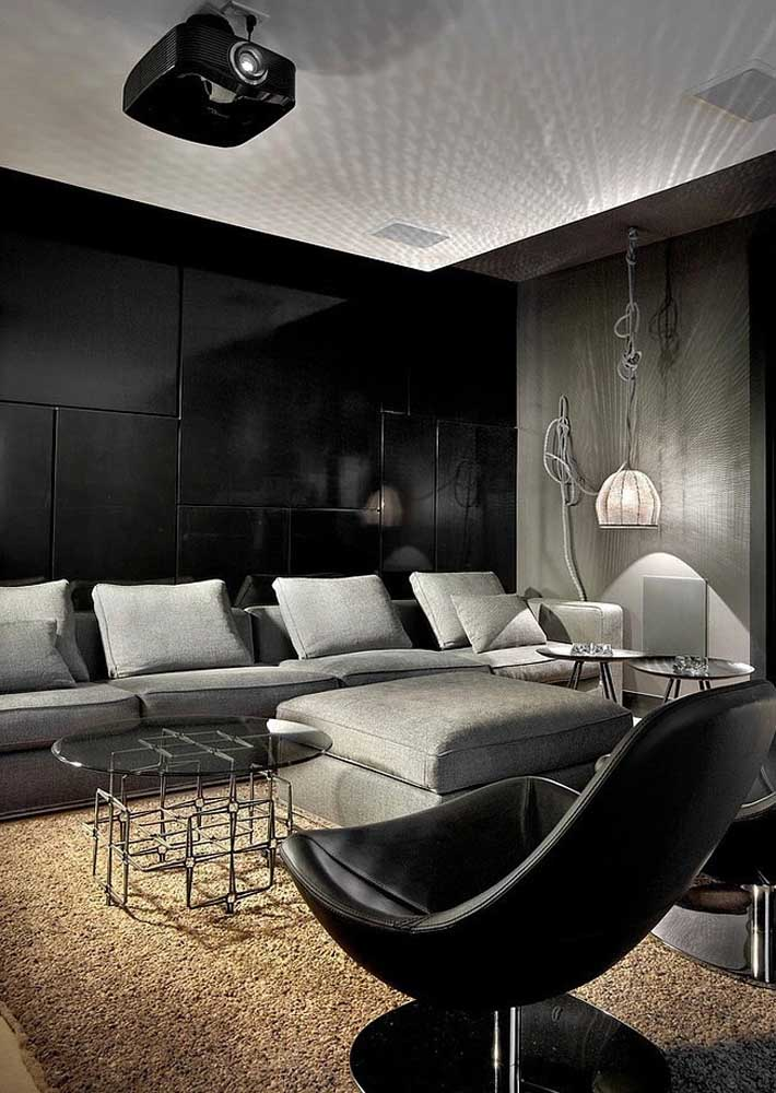 Black TV room with special lighting