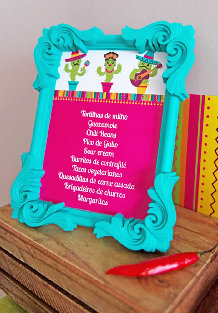 A picture frame can become a menu for Mexican dinner