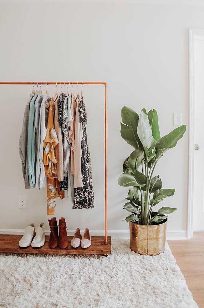 Uma tapete macio para acomodar a arara de roupas com sapateira