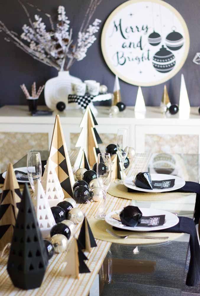 Para quem pretende fugir das cores tradicionais pode apostar em uma decoração de mesa de natal totalmente moderna
