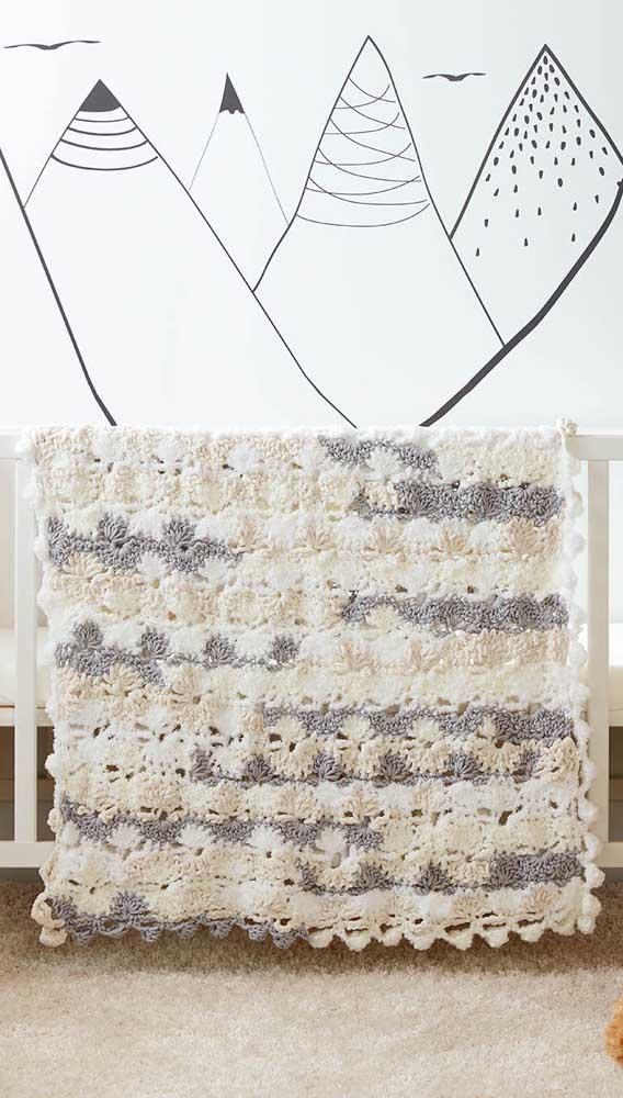 Olha que inspiração linda! Essa manta foi feita com flores de crochê, unidas como um patchwork