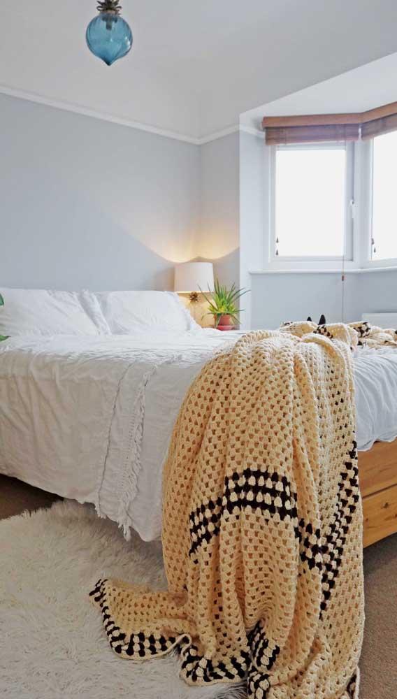 Manta de crochê grande para aquecer a cama do casal