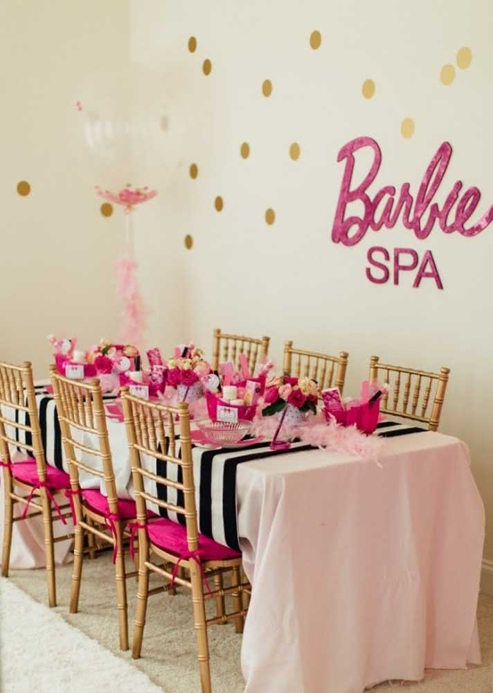 Festa infantil Spa Day com tema Barbie
