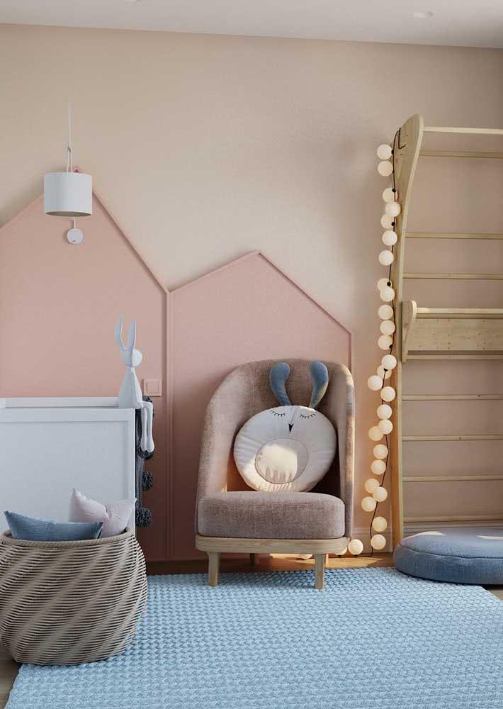 Lustre pendente simples e moderno para o quarto de bebê feminino