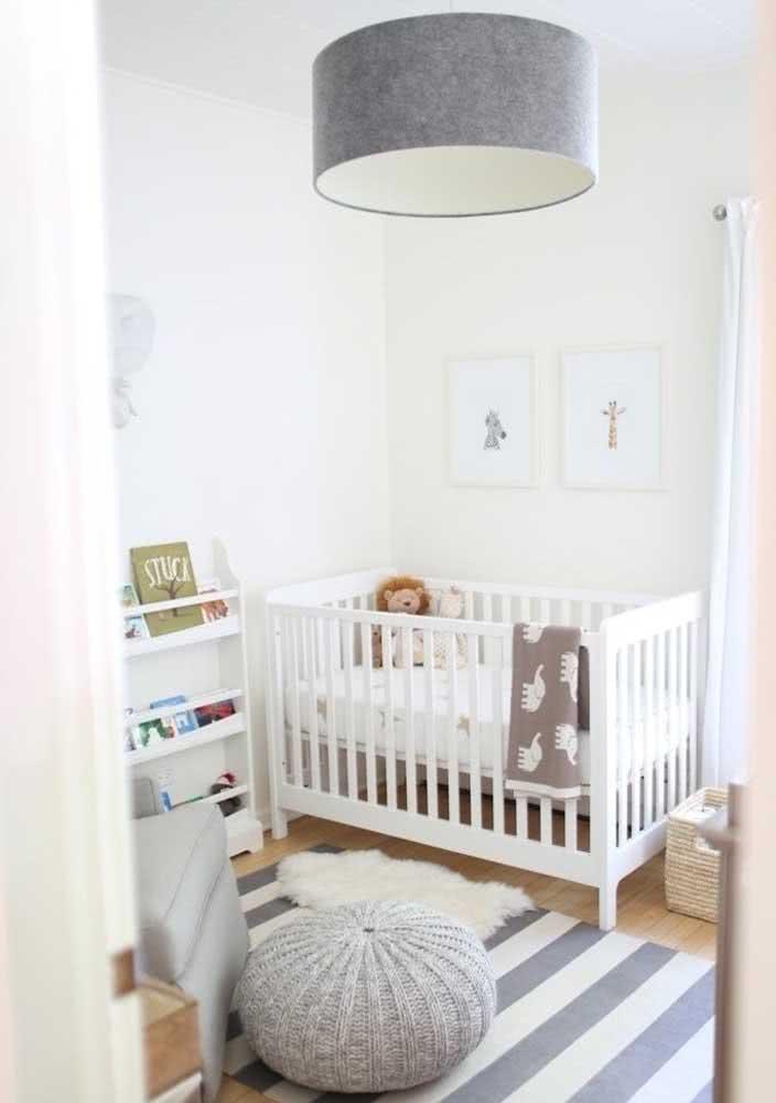 Lustre cinza para quarto de bebê: moderno e unissex