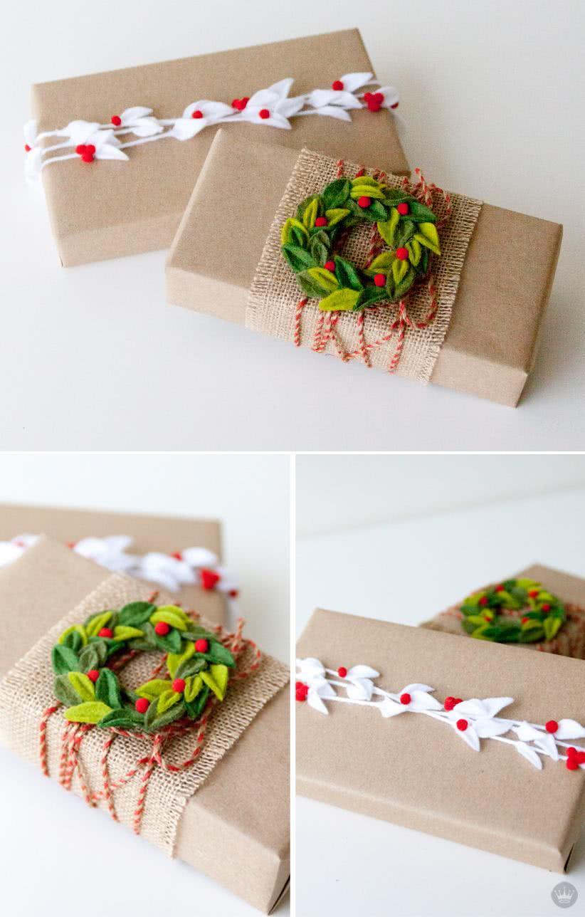 Pacote para presente de Natal artesanal.