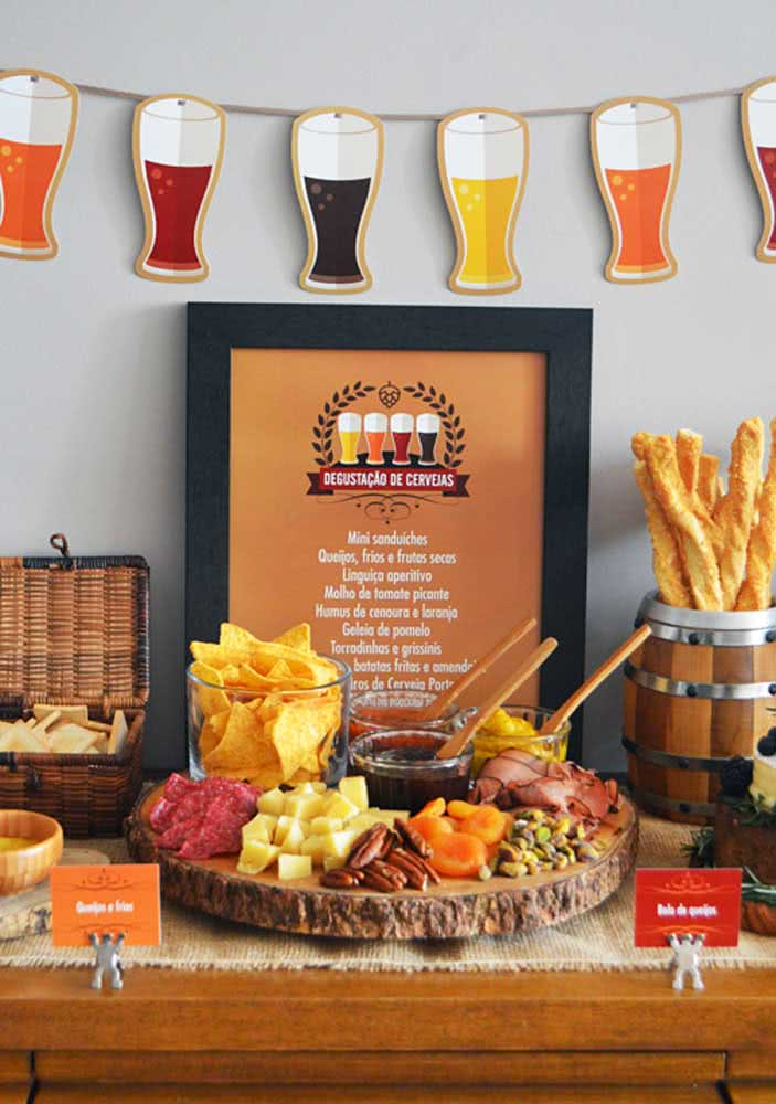 Cold cuts board with beer for an informal meeting