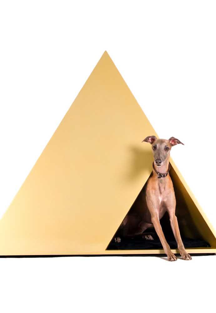 Casinha de cachorro embutida na parede. A pintura completa o visual