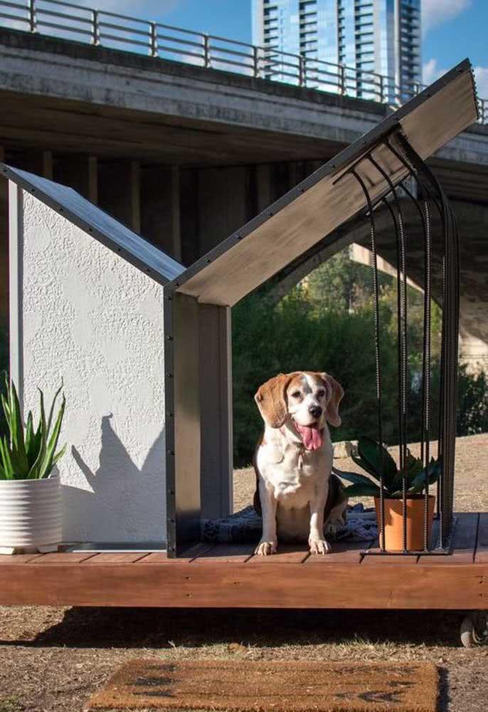 Casinha de cachorro feita de cimento com direito a varandinha