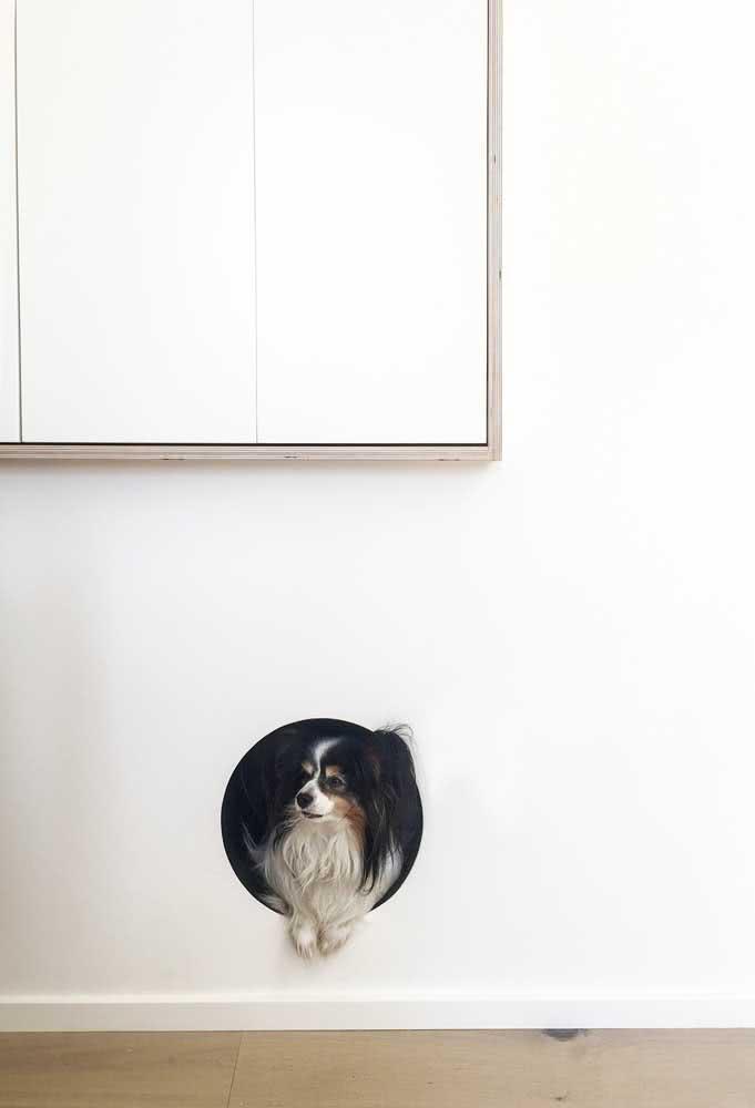 Um nicho na parede pode se transformar numa casinha charmosa pro seu cachorro