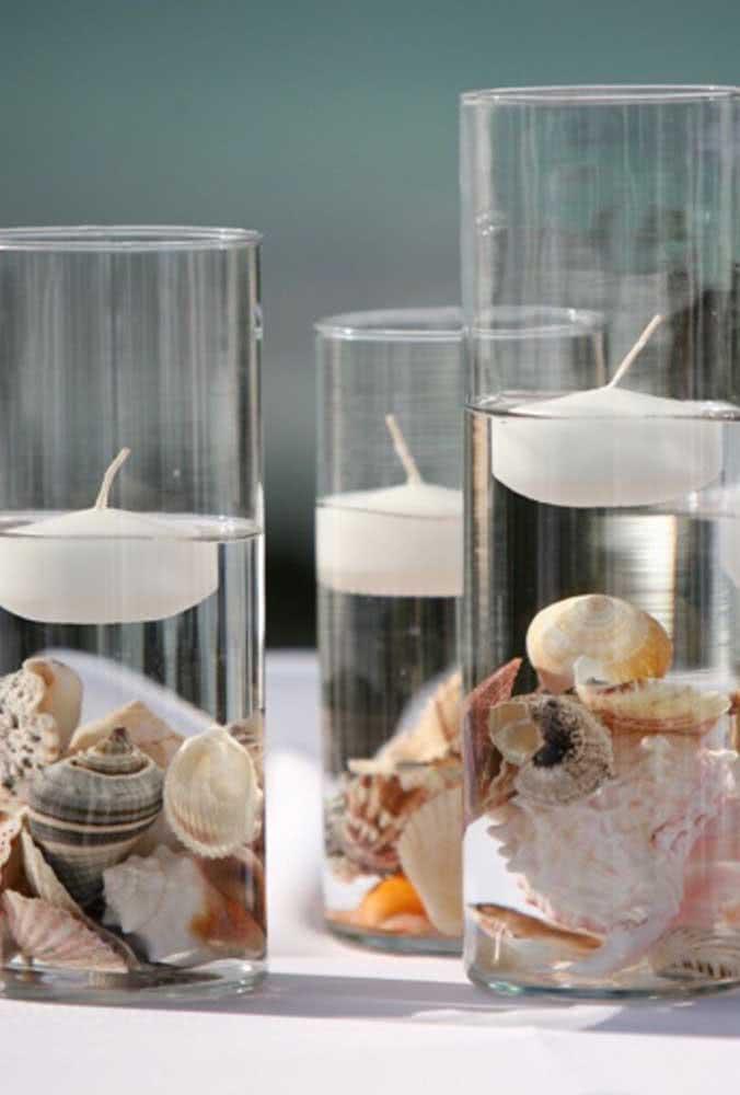 Artesanato com conchas do mar: um porta velas simples, mas pra lá de charmoso